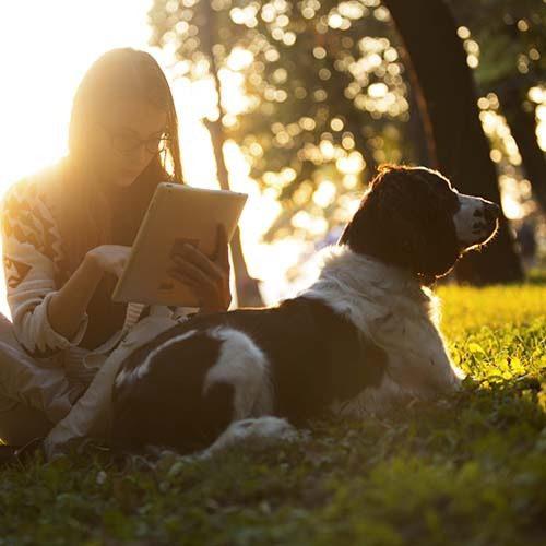 Tyttö istuu nurmikolla koiransa kanssa ja selaa tablettia.