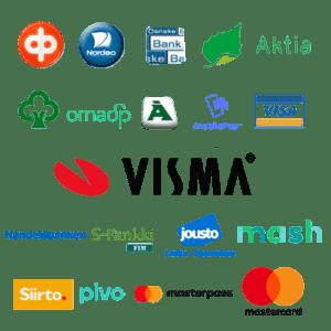Verkkokaupan maksutavat: verkkomaksut, lompakkopalvelut (MobilePay ja MasterPass), korttimaksut, luottolasku ja osamaksu-maksutavat.